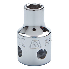 Stanley Proto Standard Socket: Imperial, 3/8 in Drive Size, 12 Points, 7/16 in Socket Size, 1 1/8 in Overall Lg, Chrome, Pin
