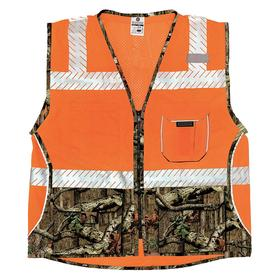 ML Kishigo Heavy Duty Vest: Polyester, Orange, Zipper, 5 Pockets, Men, 42 in Max Chest Size, M Size, ANSI Class 2