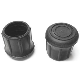 Insertable Furniture Glide: Round, Black, Rubber, With Washer, For 1 1/4 in Leg OD, 1 47/64 in Ht, 10 PK