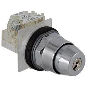 Schneider Electric Keyed Selector Switch: 3 Positions, 10 A @ 600V AC Switch Rating, Key, Maintained, XO, OO, OX, Zinc