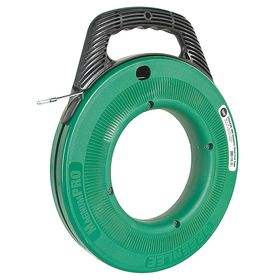 Greenlee Fish Tape for Straight Runs: Stainless Steel, Round, 100 ft Overall Lg, 1/8 in Tape Dia, Green