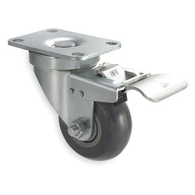 Plate Caster: 4 in Wheel Dia, Swivel w/ Lock, Gray, Polyurethane, Hard Relative Tread Hardness, Ball, 1 1/4 in Wheel Wd