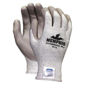 Cut-Resistant Glove: ANSI Cut-Resist Level 3, Knit Cuff, Polyurethane Palm, Gray, 2XL Size, ANSI Compliant Yes, 1 PR