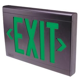 Hubbell Lighted Exit Sign: 1/2 Faces, Directional Indicators, Green, 9 in Overall Ht, 13 in Overall Lg, Plastic, White