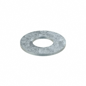USS Flat Washer: Steel, Zinc Plated, Low Carbon Material Grade, For 1 3/8 in Screw Size, 1.5 in ID, 3.25 in OD, 5 PK