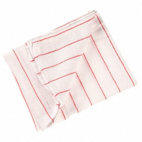 Dish Towel: 100% Cotton, White with Red Stripes, 25 in Lg, 15 in Wd, 12 PK