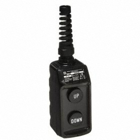 Schneider Electric Pendant Push Button Station: Momentary, Up-Down, Black, 2.19 in Overall Wd, 4.69 in Overall Ht, Round