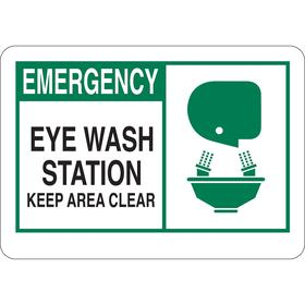 Emergency Eyewash & Shower Sign: Eye Wash Station Keep Area Clear, 10 in Overall Ht, 14 in Overall Wd, Single, Aluminum