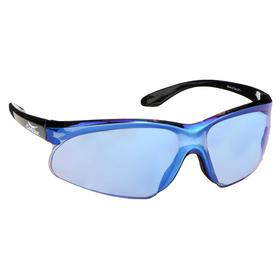 Safety Glasses: Blue Mirror, Wraparound Frame, Scratch Resistant, Black, ANSI Z87.1-2010, Polycarbonate, 49.37 in Arm Lg