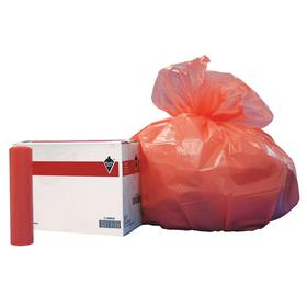Trash Bag: 45 gal Capacity, Linear Low Density Polyethylene, Orange, Drawstring, Trash Bags, 40 in Wd, 48 in Ht, 100 PK