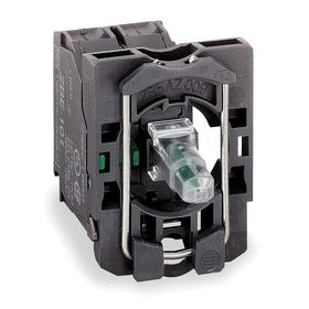 Schneider Electric Lamp Module & Contact Block: For Plastic/ZB5 Series, 24V AC/DC, 1.26 in Overall Lg, Includes Bulb, Green, 1.65 in Overall Ht