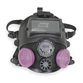 Honeywell North 7600 Welding Full-Face Mask Respirator: M/L Size, Dual, Threaded, Silicone, Face Seal, Exhalation Valve