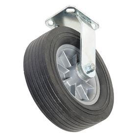 Rigid Plate Caster: Black, 1 Wheels, 10 in Wheel Dia, 3 in Wheel Wd, 650 lb Max Load Capacity, Outdoor