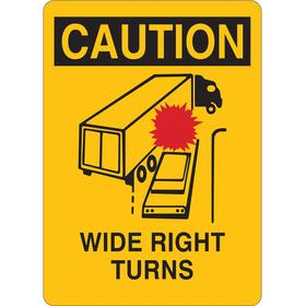 Traffic Sign: 10 in Overall Ht, 7 in Overall Wd, Aluminum, Mounting Holes, Wide Right Turns, Text & Graphic, Yellow