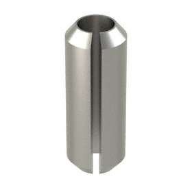 Slotted Spring Pin: 18-8 Stainless Steel, Passivated, 6 mm OD, Fits 6 Min Hole Dia, Fits 6.25 Max Hole Dia, 10 PK