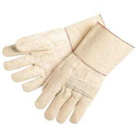 Heat-Resistant Glove: Fabric Glove, Left/Right Pr, 300° F Max Temp, 12 1/2 in Glove Length, Gauntlet Cuff, Cotton, 1 PR