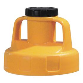 Quick-Identify Lid: Round, Pump/Pour, Yellow, High-Density Polyethylene, 5 13/16 in Lid OD, 4 3/4 in Overall Ht