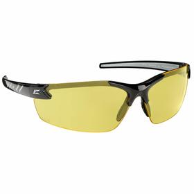 Edge Safety Glasses: Yellow, Half Frame, Anti-Fog/Scratch Resistant, Black, ANSI Z87.1+2015/MCEPS GL-PD 10-12