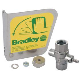 Bradley Ball Valve Handle: Stainless Steel, Handle Assembly/Label Assembly, For 0.5 in Inlet Dia, 1 in Inlet Size, NPT