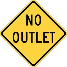 Brady Traffic Sign: No Outlet, 18 in Overall Ht, 18 in Overall Wd, Aluminum, Non-Reflective, Mounting Holes