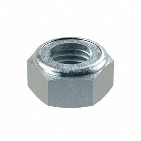 """Nylon Insert Locknut: Steel, Zinc Plated, 1 1/8""""-7 Thread Size, 1 11/16 in Wd, 59/64 in Ht"""