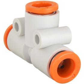 Compact Push-to-Connect Union Tee: 1/4 in Port 1 Tube Size, 1/4 in Port 2 Tube Size, 1/4 in Port 3 Tube Size