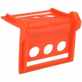 Tie-Down Corner Protector: 3 13/16 in Overall Ht, 5 7/16 in Overall Lg, 4 in For Max Webbing Wd, Orange, Plastic
