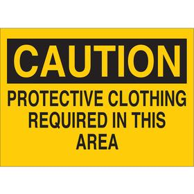Brady Personal Protective Equipment Sign: 10 in Overall Ht, 14 in Overall Wd, Polyester, Self-Adhesive, Caution, English, Text