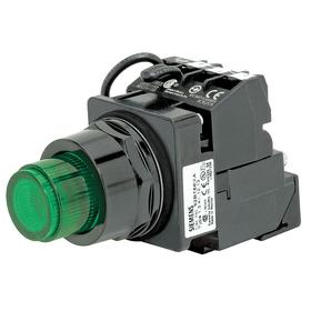 Siemens Illuminated Push Button Switch: Extended Operator, 1NO/1NC Pole-Throw Configuration, Maintained/Momentary, Green