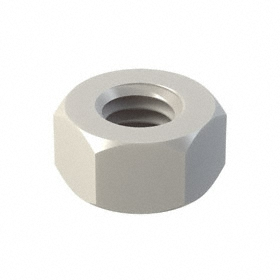 Hex Nut: Nylon, White, M6 Thread Size, 1 mm Thread Pitch, 10 mm Wd, 5 13/32 mm Ht, 25 PK