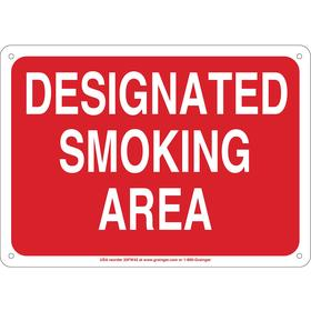 Designated Smoking Sign: Designated Smoking Area, 10 in Overall Ht, 14 in Overall Wd, Vinyl, Self-Adhesive