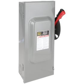 Schneider Electric Heavy Duty Safety Disconnect Switch: Three Phase, 3 Poles, 100 A @ 600V AC Switch Rating, 6 3/8 in Enclosure Dp