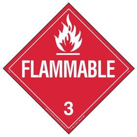 DOT Vehicle Placard: Flammable 3, 10 3/4 in Overall Ht, 14 1/3 in Overall Wd, Vinyl, Red, 3 Dangerous Goods Class, 10 PK