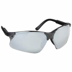 Gateway Safety Safety Glasses: Gray Mirror, Half Frame, Scratch Resistant, Black, Nylon, Adj Temples, Unisex