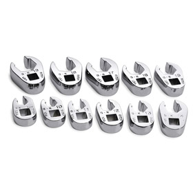 SK Crowfoot Wrench Set: Imperial, 3/8 in Drive Size, Chrome, Steel, Tray, Corrosion-Resistant