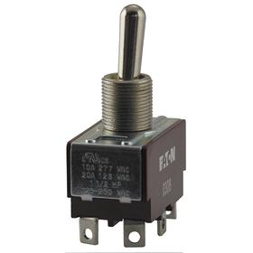 Eaton Toggle Switch: 3 Positions, 20 A @ 125V AC Switch Rating, 1 Poles, On-Off-On, SPDT Pole-Throw Configuration, Maintained, Silver