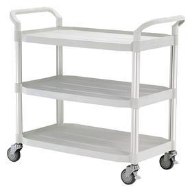 Plastic Shelf Cart: 3 Shelves, Thermoplastic Rubber, (2) Swivel & (2) Swivel with Brake, 400 lb Max Load Capacity, Ball, Handle