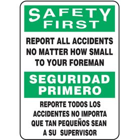 Emergency Contact Sign: 14 in Overall Ht, 10 in Overall Wd, Plastic, English/Spanish, Mounting Holes