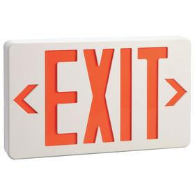 Impact Resistant Plastic Lighted Exit Sign: 2 Faces, Directional Indicators, Red, 7 1/4 in Overall Ht, 1 7/8 in Overall Lg