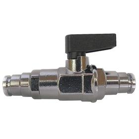 Ball Valve: 1-Piece, Std Port Classification, Brass, Lever, Push In, 1/4 in Pipe Size (Port 1), 2 7/16 in Overall Lg
