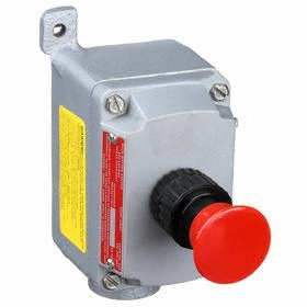 Emerson Emergency Stop Push Button Station: Maintained, Red, 3 in Overall Wd, 4.63 in Overall Ht, 4.69 in Overall Dp