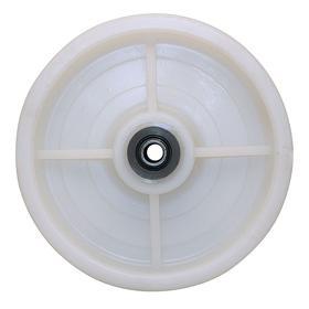 Nylon Tread Caster Wheel: 6 in Wheel Dia, Wash-Down Application, Extra-Hard Relative Tread Hardness, Roller, White