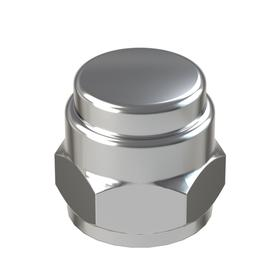 """Flat Top Acorn Nut: Steel, Chrome Plated, 1/4""""-28 Thread Size, 1/4 in Thread Dp, 31/64 in Overall Ht, 7/16 in Wd, 5 PK"""