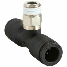 Parker Hannifin Push-to-Connect Branch Tee: 1/4 in Port 1 Tube Size, 1/4 Pipe Size (Port 2), BSPT, 10 PK