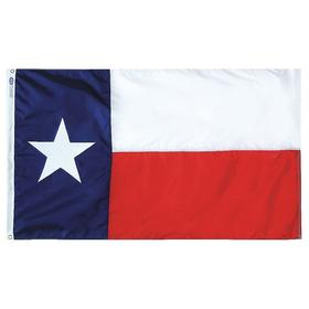 State Flag: Texas, 8 ft Overall Ht, 12 ft Overall Wd, 40 ft Min Flagpole Ht, Nylon, Outdoor