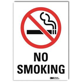 Lyle No Smoking Sign: 14 in Overall Ht, 10 in Overall Wd, Decal, Self-Adhesive, English, Text & Graphic, Safety Information, White