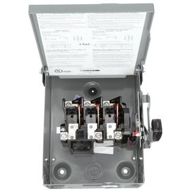 Schneider Electric Standard-Duty Disconnect Switch: Three Phase, 3 Poles, Steel, 60 A @ 240V AC Switch Rating, Outdoor