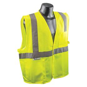Radians High Visibility Vest: Polyester, Green, Hook & Loop, 2 Pockets, Unisex, 32 in Max Chest Size, 3XL Size