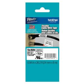 Brother Portable Printer Label: Wire & Cable Marking, Laminated Polyester, Black on White, 61/64 in Label Wd, White