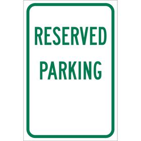 Brady Parking Sign: Reserved Parking, 18 in Overall Ht, 12 in Overall Wd, Aluminum, High Intensity